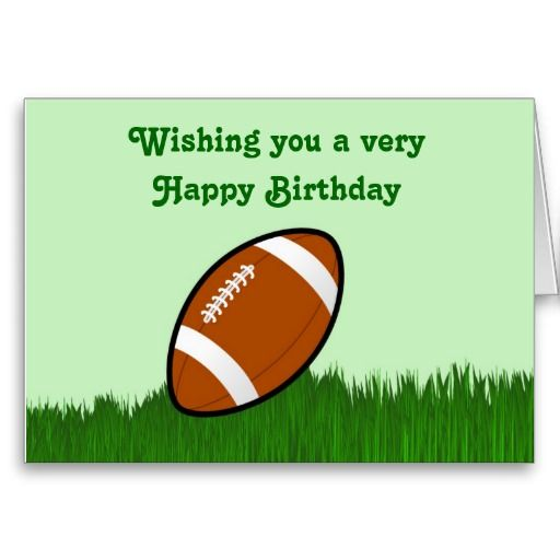 Happy Birthday With Football On Grass Card Zazzle Com Birthday Cards For Boys Happy Birthday Cards Birthday Cards Diy