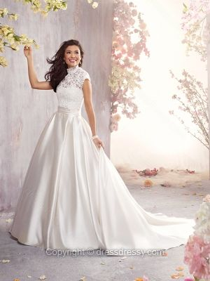 Ball Gown High Neck Satin Court Train Ivory Lace Wedding Dresses -$221.89