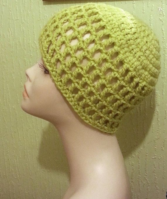 Crocheted Mesh Hat Mesh Cap Beanie Lime Green ♥ by jazzicrafts ... c960df33856
