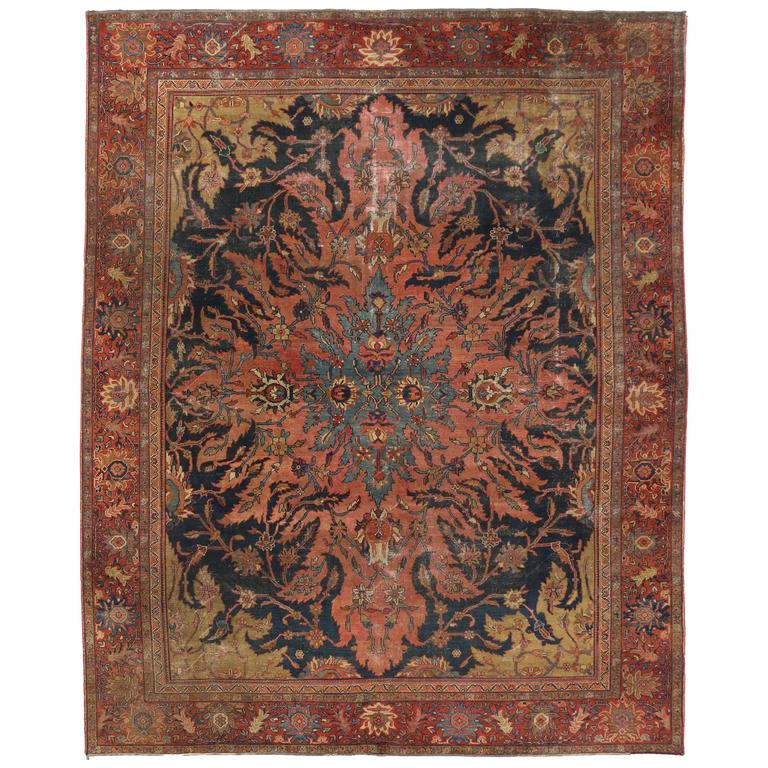 Antique Farahan Rug With Modern Industrial Style Persian Area Rug Persian Area Rugs Modern Persian Rug Modern Area Rugs
