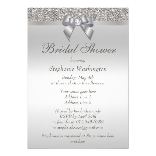 Faux Silver Sequins and Bow Bridal Shower Personalized Announcement