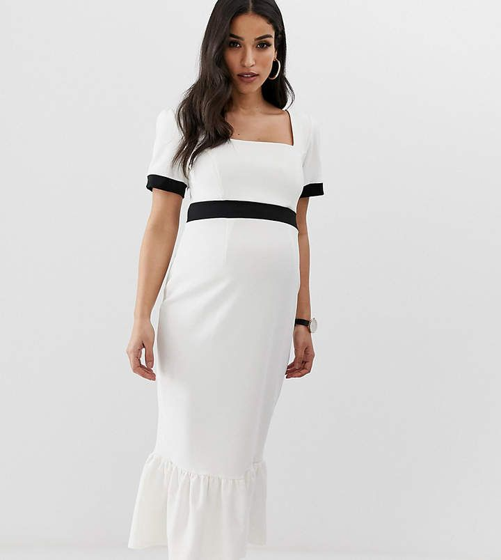 b11c1c42434a9 ASOS Maternity ASOS DESIGN Maternity mono rib midi dress with pep hem #ad