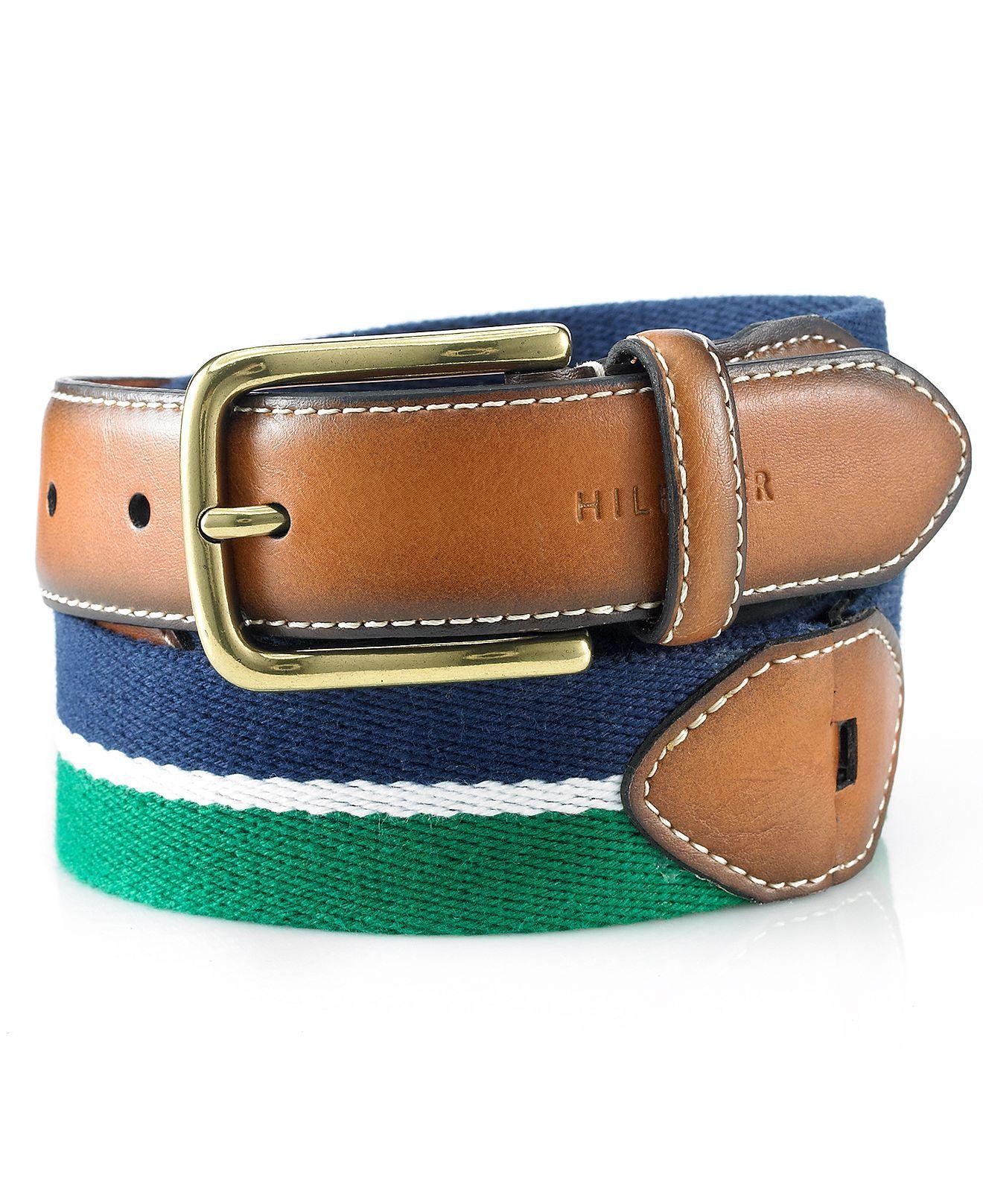 Tommy Hilfiger Men/'s Khaki//brown//navy Belt Canvas And Ribbon 35mm