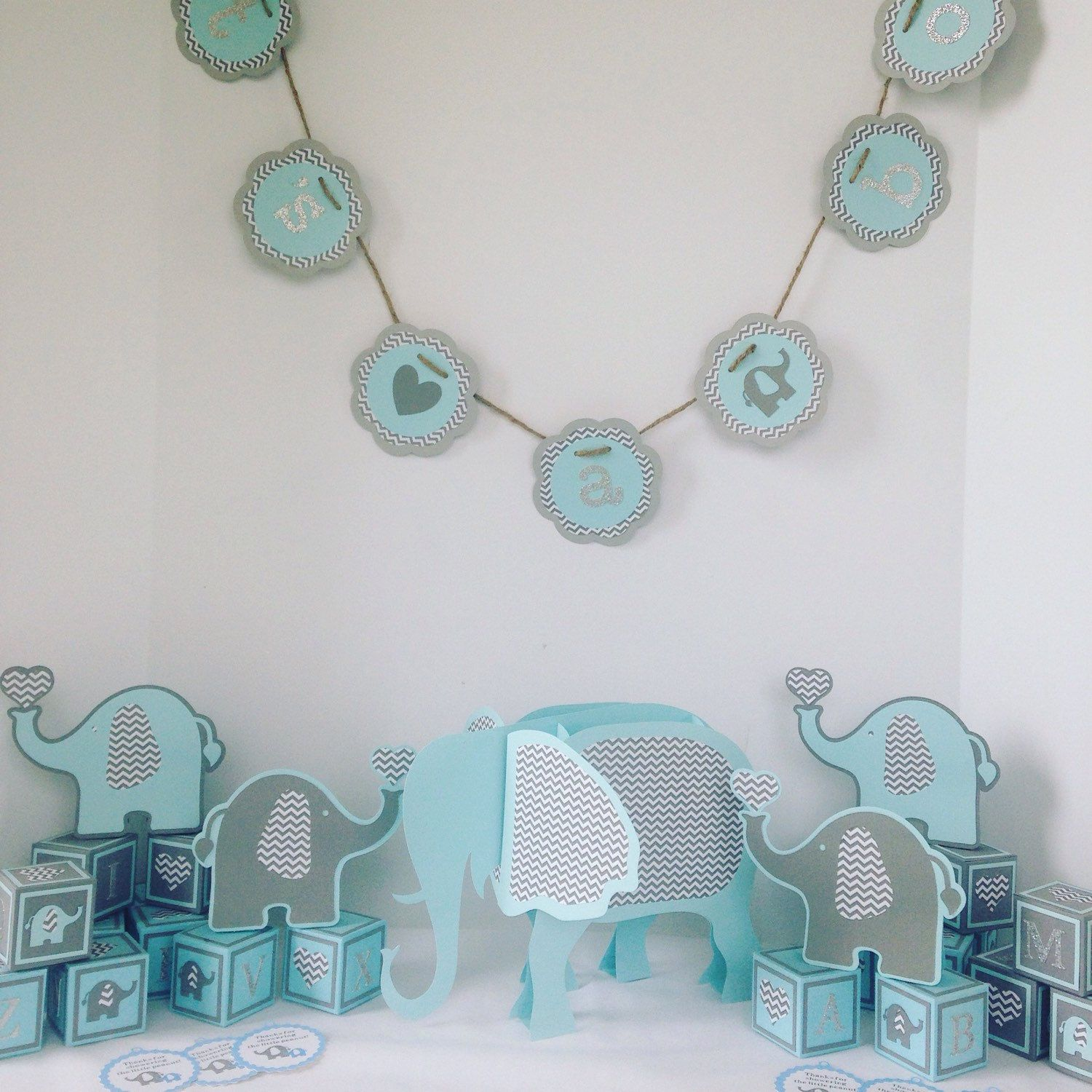 Baby Boy Baby Shower Decorations Ready To Ship! Elephant Baby Shower, Baby  Shower Decorations