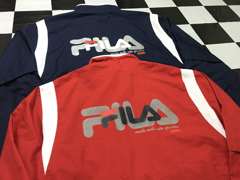 fila anorak jacket. buy 1 get 2 vintage fila jacket windbreaker big logo blue \u0026 red excellent condition by anorak