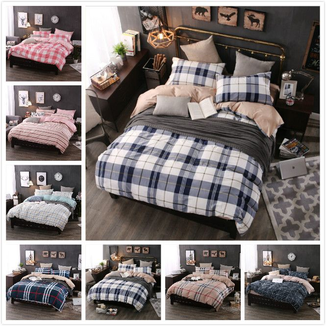 100 Cotton Mixed Simple Striped Plaid Mix And Match England 4pcs Duvet Cover Sets Soft