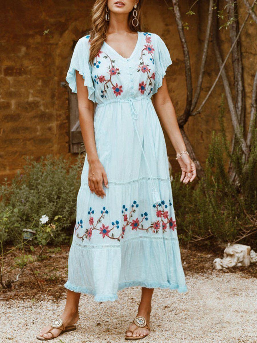 Boho V Neck Floral Short Sleeve Dresses  Spring outfits boho