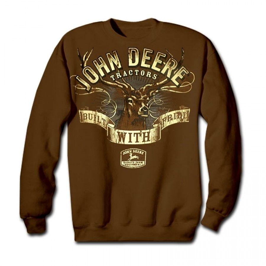 Kid's John Deere Built With Pride Brown Crew Neck Fleece   RunGreen.com