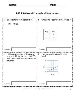 Common Core Assessments Math - 7th - Seventh Grade - Ratios ...