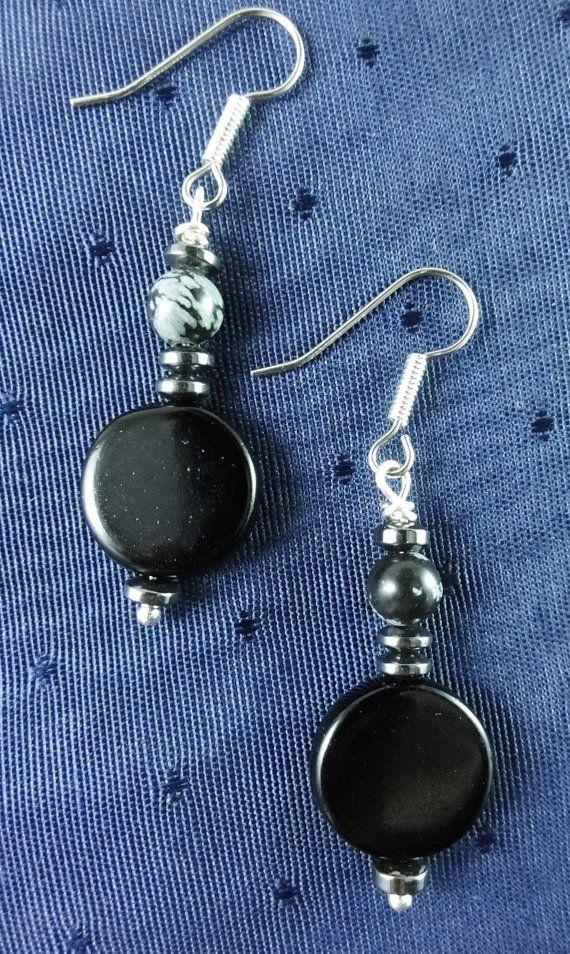Black Onyx Earrings with Snowflake by GemstoneJewelrybyVal on Etsy