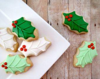 Christmas Cookies Holly Leaf Iced Sugar Cookies Mini 2 Dozen