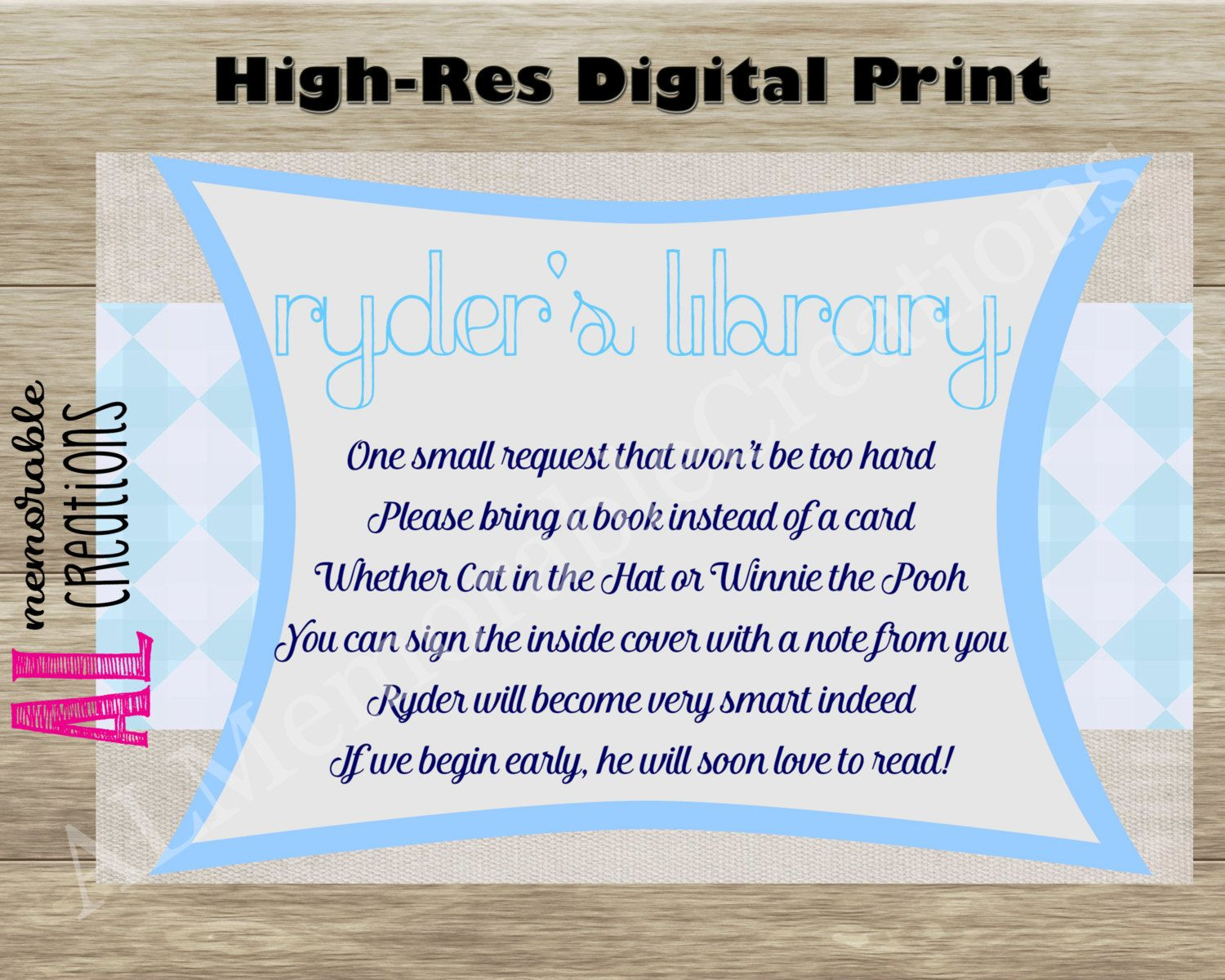 bridal shower keepsake book%0A Bring A Book Poem Baby Shower Poem Baby Boy Invitation Insert Baby Sprinkle Bridal  Shower Rustic Blue and Digital Printable File by ALMemorableCreations on