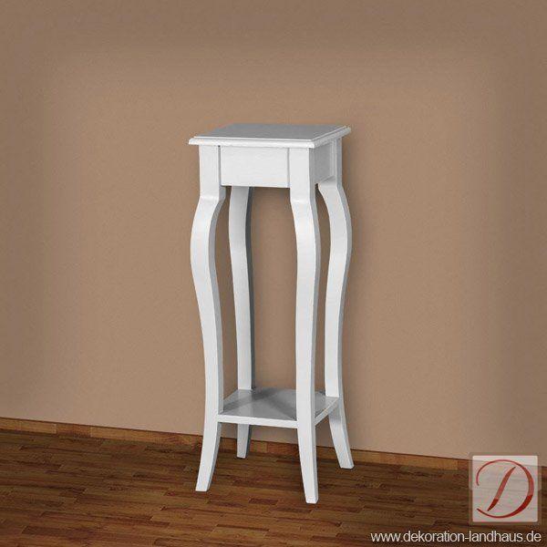 Beistelltisch LONDON weiß H90cm Pinie Massivholz - Traditionelle Handwerkskunst und edles Landhaus-Design vereinen sich in diesem Möbelstück und formen die Silhouette dieses Beistelltisches. Genießen und Erfreuen Sie sich an der Gesellschaft dieses langlebigen Begleiter!