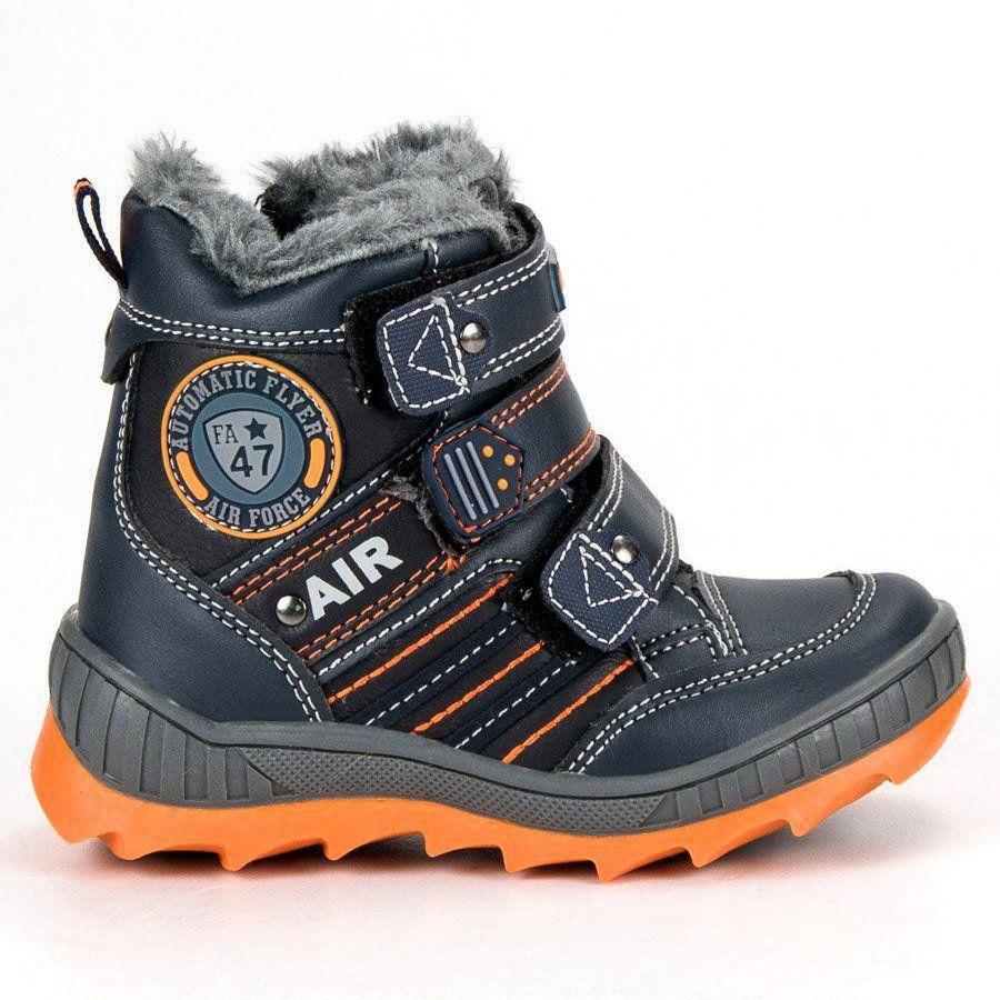 Kozaki Dla Dzieci Americanclub American Club Niebieskie Cieple Buty Na Rzepy American Boots Hiking Boots Shoes