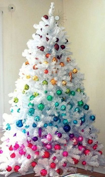 48 Inspiring Rustic White Christmas Tree Decoration Ideas White