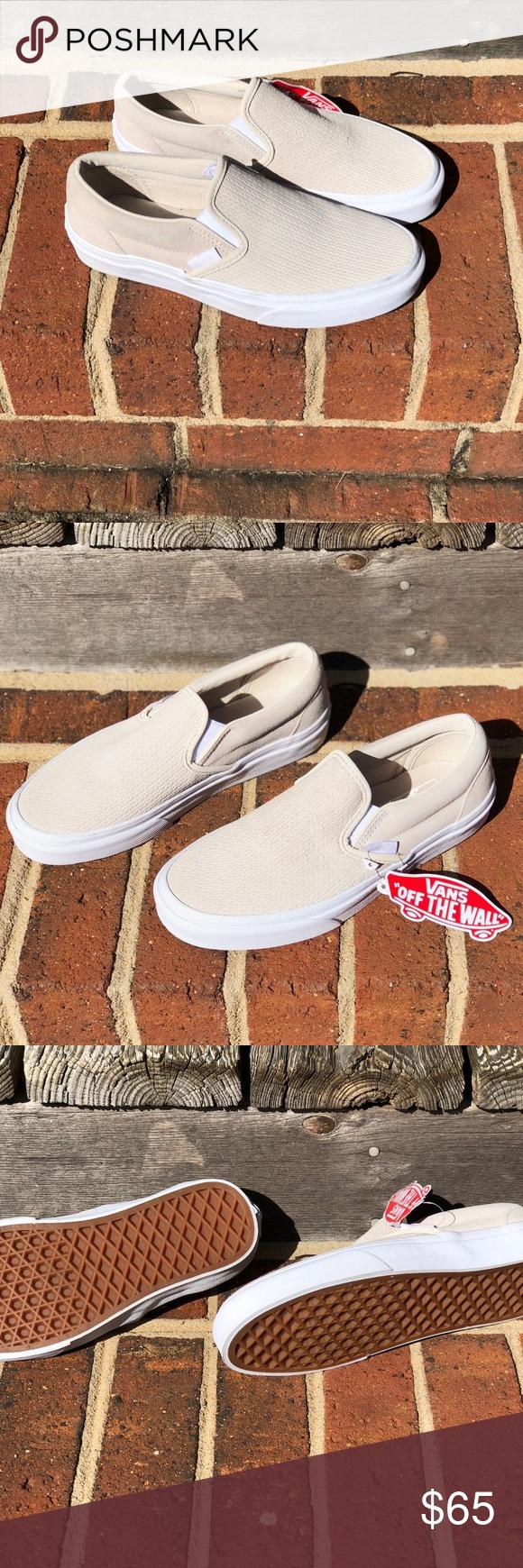 857eba93ce Vans Classic Slip-On Sneaker Moonbeam Suede Product Details  🏂Slip-On  Desert Moonbeam and White Embossed 🏂Skate Shoes from Vans.