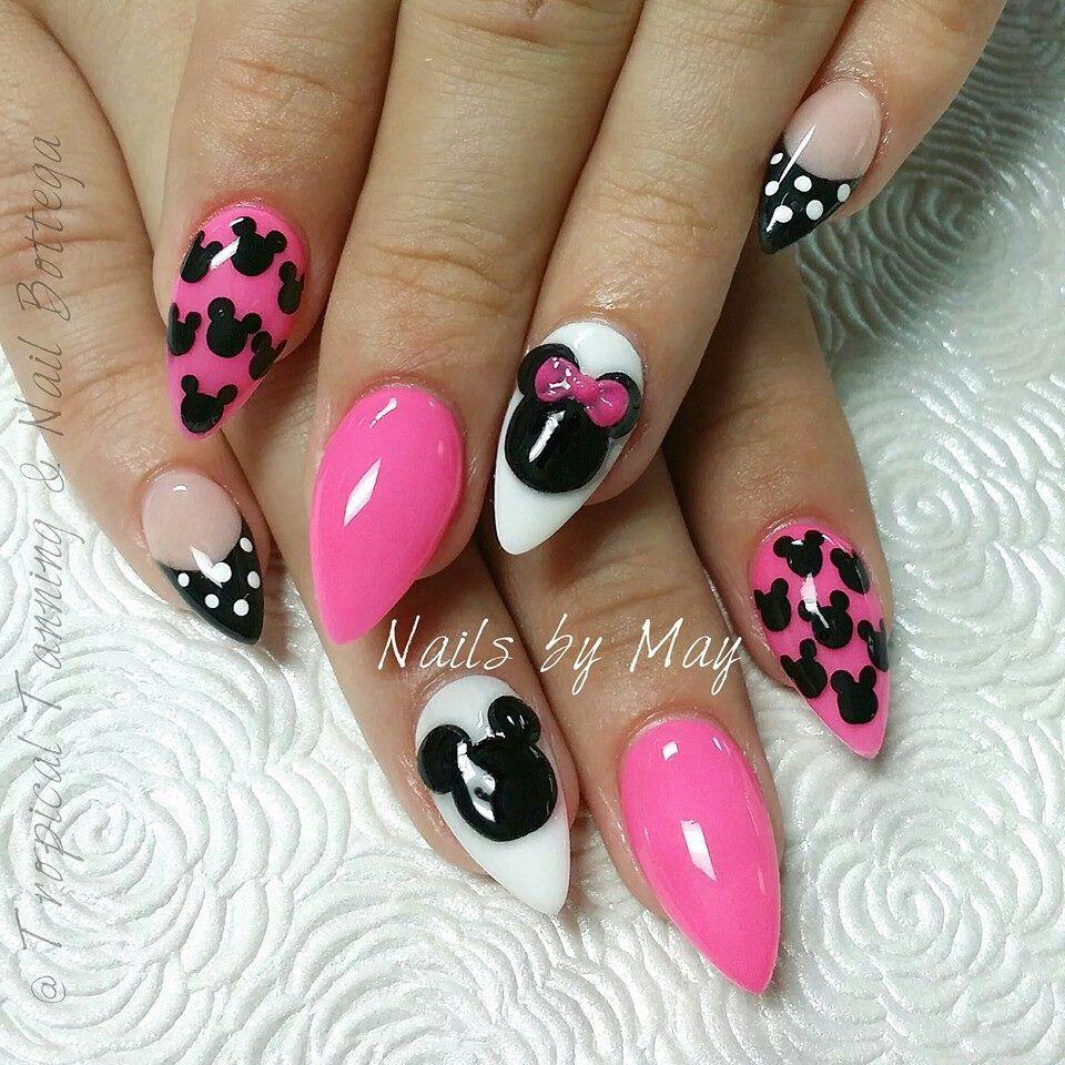Princess Acrylic Nails: Minnie And Mickey Stilettos