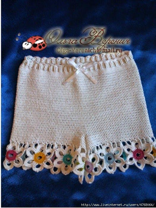 Conjunto de blusa y minishort para niña tejido al crochet con patron ...