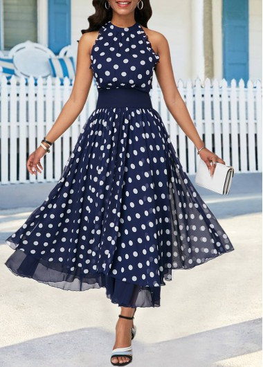 69561afd66d High Waist Keyhole Back Sleeveless Dress