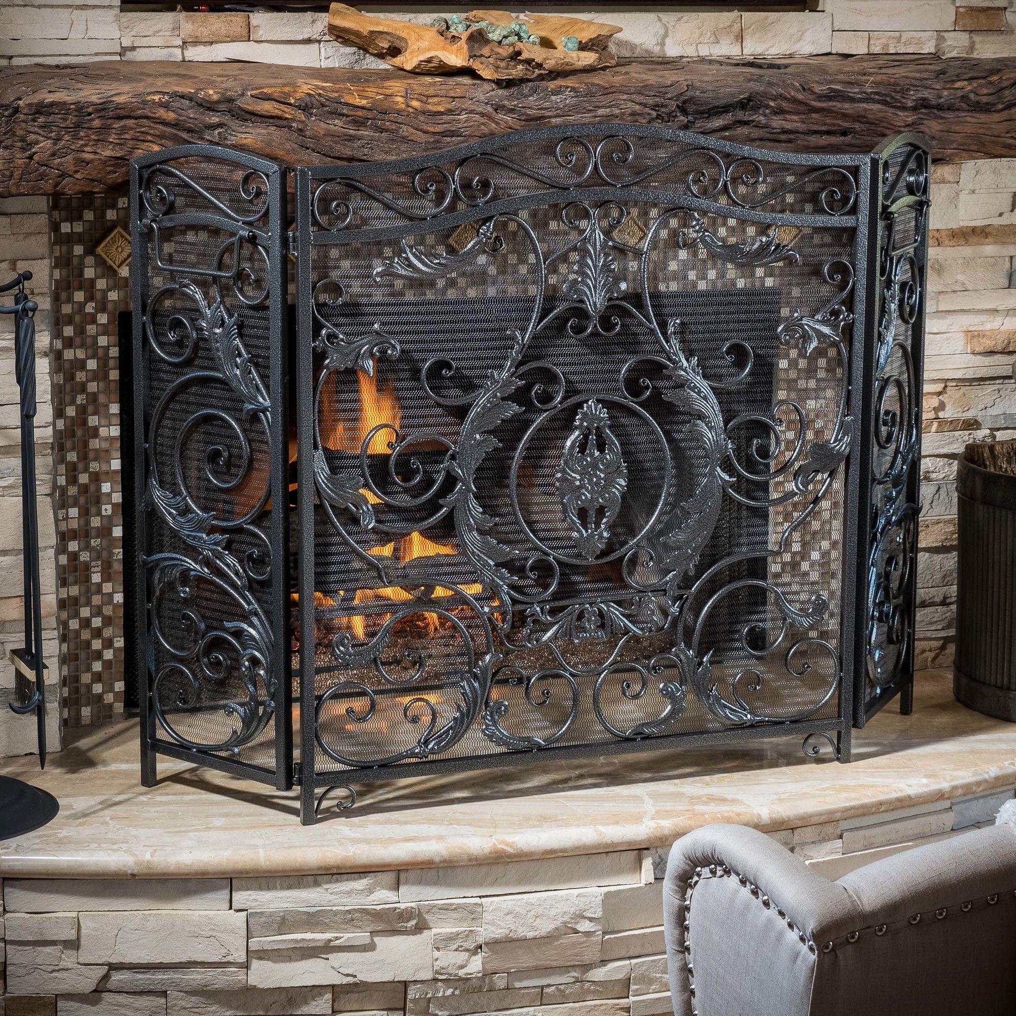 Hayward 3 panel iron fireplace screen fireplace screens iron and hayward 3 panel iron fireplace screen teraionfo