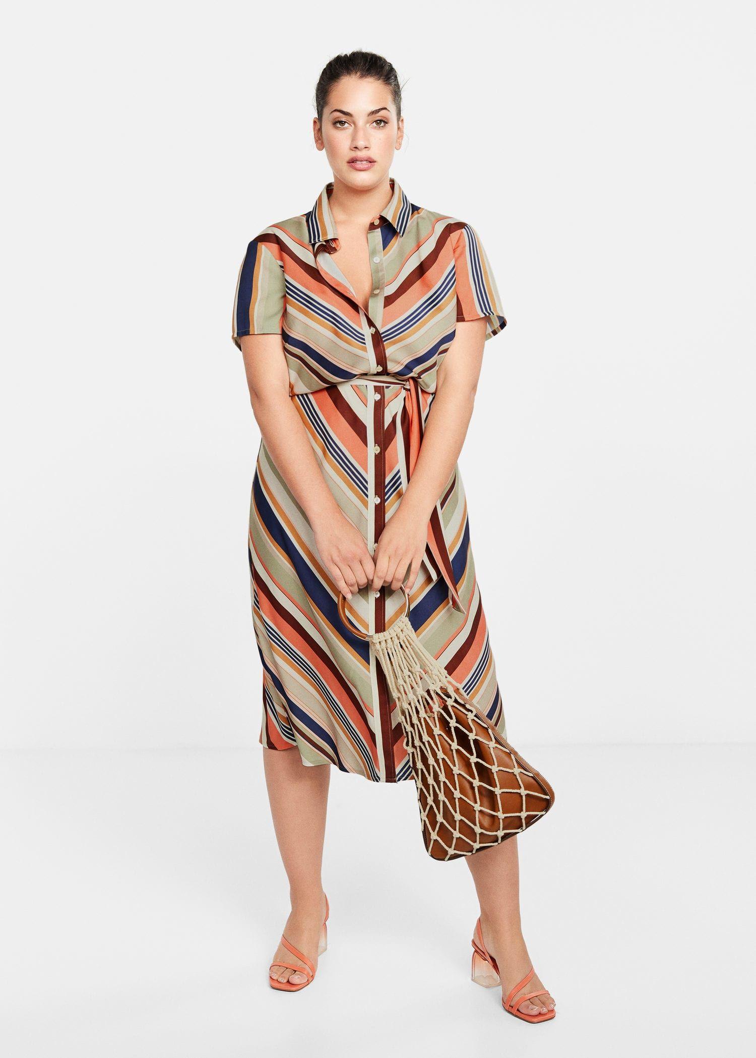 Vestido Midi Rayas Tallas Grandes Violeta By Mango Espana Sommer Kleider Kleid Plus Grossen Midikleider