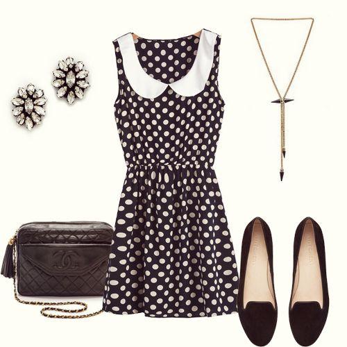 Black Contrast Collar Polka Dot Slim Dress