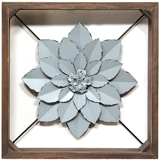 Amazon Com Stratton Home Decor Stratton Home Decor Framed Metal Flower 15 75 W X 2 75 D X 15 75 H Dark Wa Square Wall Art Flower Wall Decor Metal Flowers