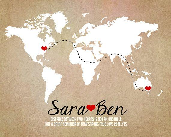 Wedding Art Gifts: Long Distance World Map, Rustic Wedding Gift, Art Print