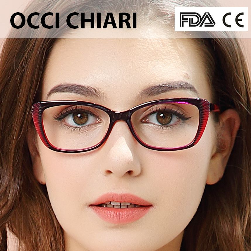 3943bbaad6d 2018 Fashion Prescription Eyeglasses cat eye Vintage Women Optical Acetate Spectacles  Eyewear Frame Spring Hinge Red OCCI W-ZEI