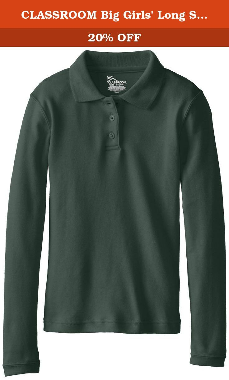 5768c53c CLASSROOM Big Girls' Long Sleeve Fitted Interlock Polo, Hunter Green,  X-Large. Girls long sleeve polo in interlock knit with 3 button placket  (right over ...