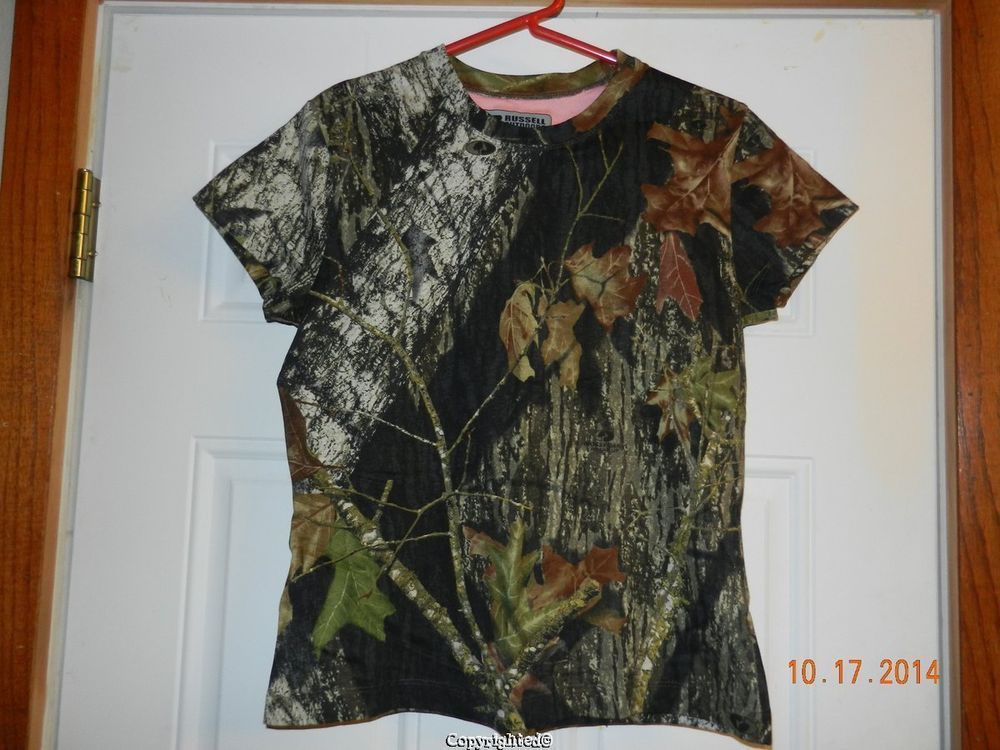 Russell Outdoors Mossy Oak Break Up Camouflage T-shirt Women's XS 4 6 #RussellOutdoors #TShirt #Camouflage #HuntingSeason