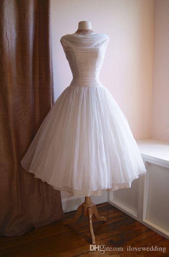 Vintage 1950s Wedding Dresses Tea Length Bateau Neckline Pleated ...