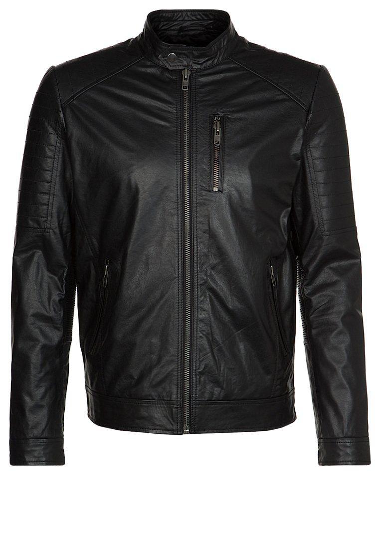 Jack   Jones CAL L - Veste en cuir - noir - ZALANDO.BE   Jack ... c863a1418690