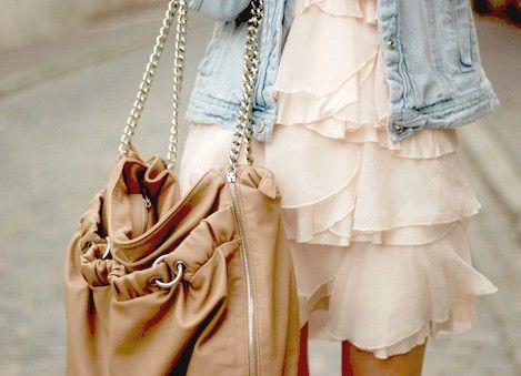Is loving the jacket w/ flouncy dress