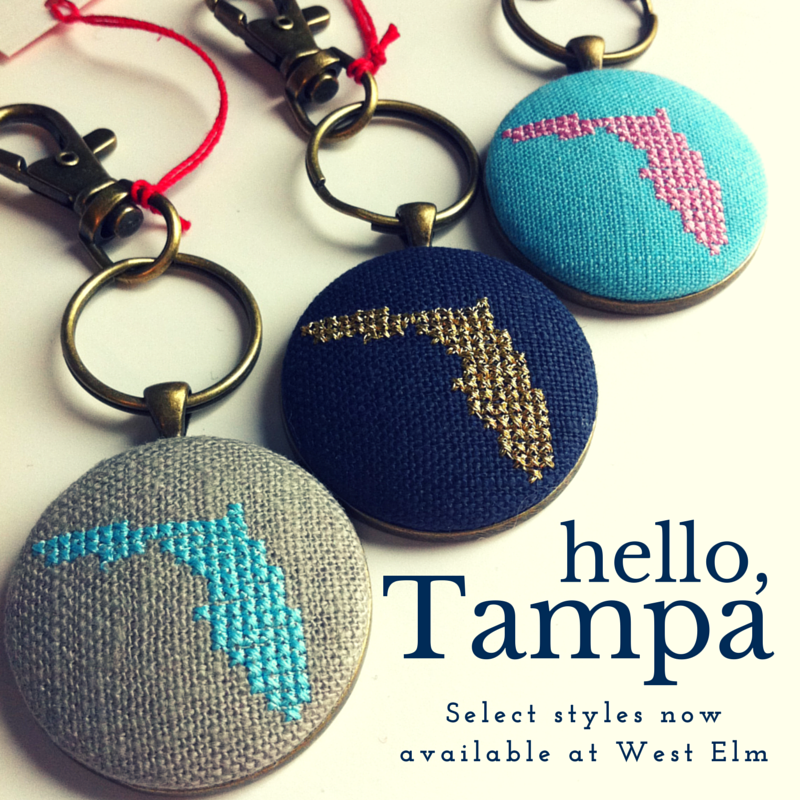 Select styles of Cardinal House stitched keychains are now available at West Elm in Tampa!