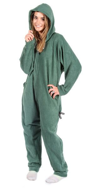 a8e462835646 Forever Lazy Adult Onesie Robin Hoodie Green available in sizes XS-XXL.  Ultra soft and comfy 100% polyester fleece.