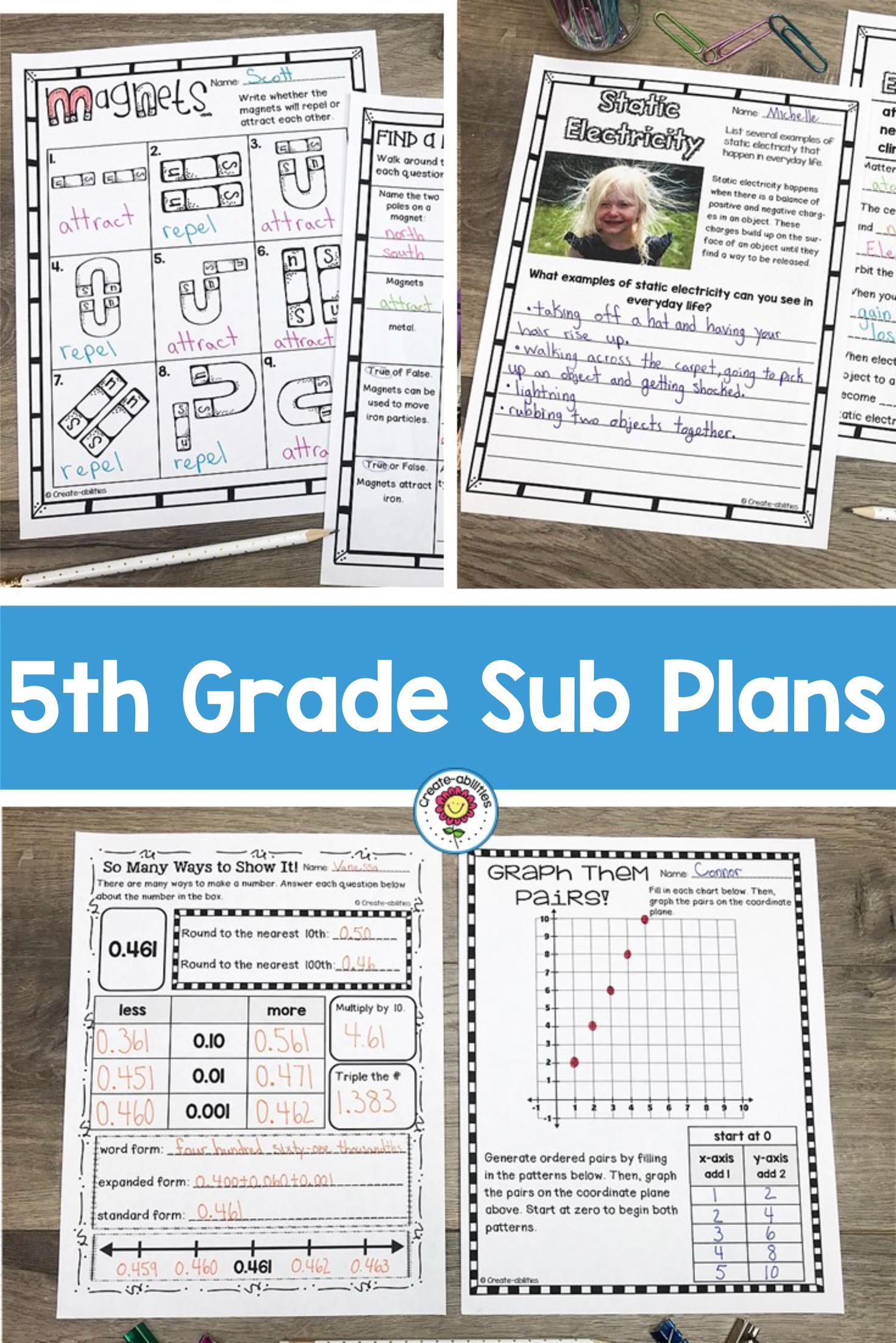 Sub Plans 5th Grade | Pinterest | Art activities, Substitute teacher ...