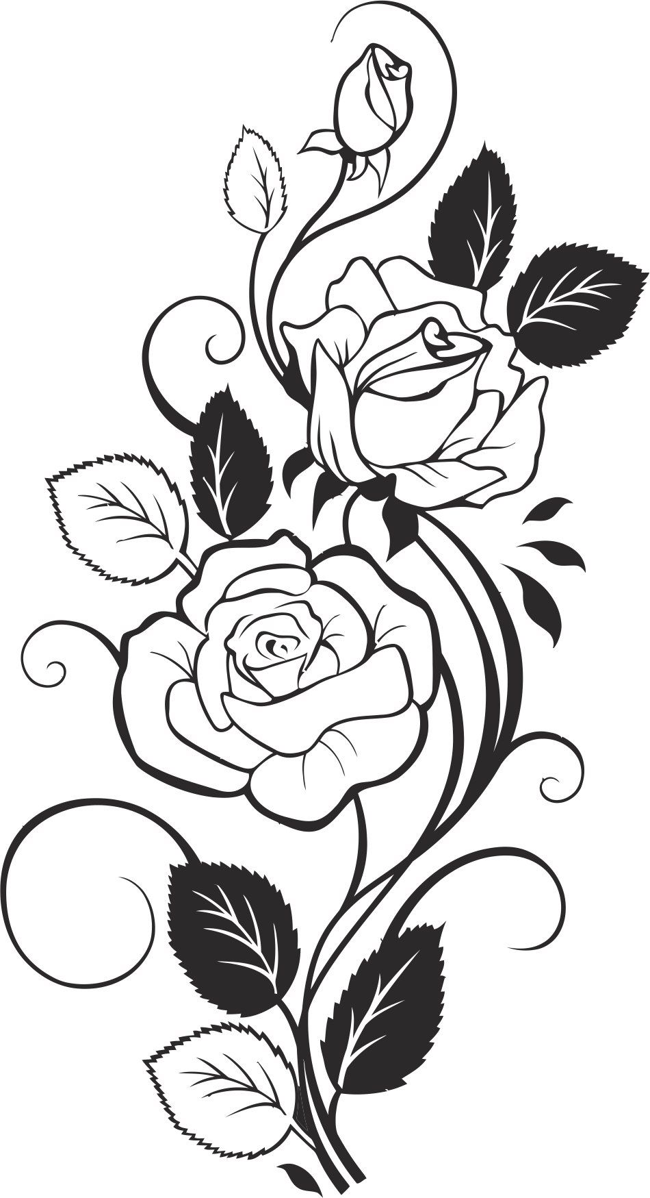Black And White Rose Vector Free Vector Cdr Download 3axis Co Drawings Flower Drawing Coloring Pages