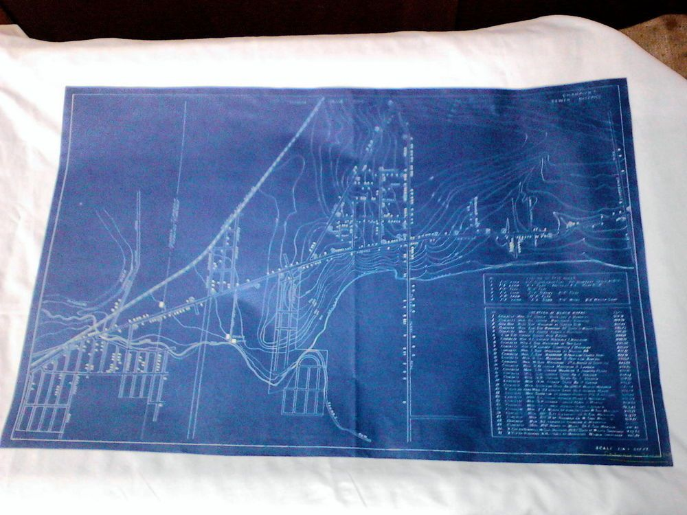 Vintage blueprint map warren and champion twp ohio sewer district malvernweather Images