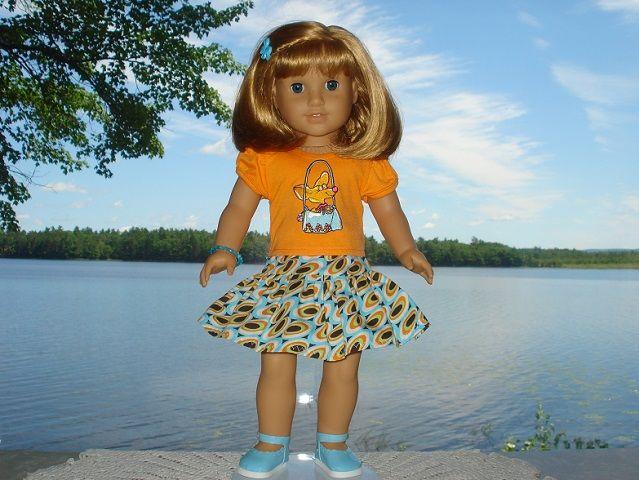 Doggie Bag Outfit includes a top, skirt, shoes, bracelet, hair barrette & doll clothes hanger.