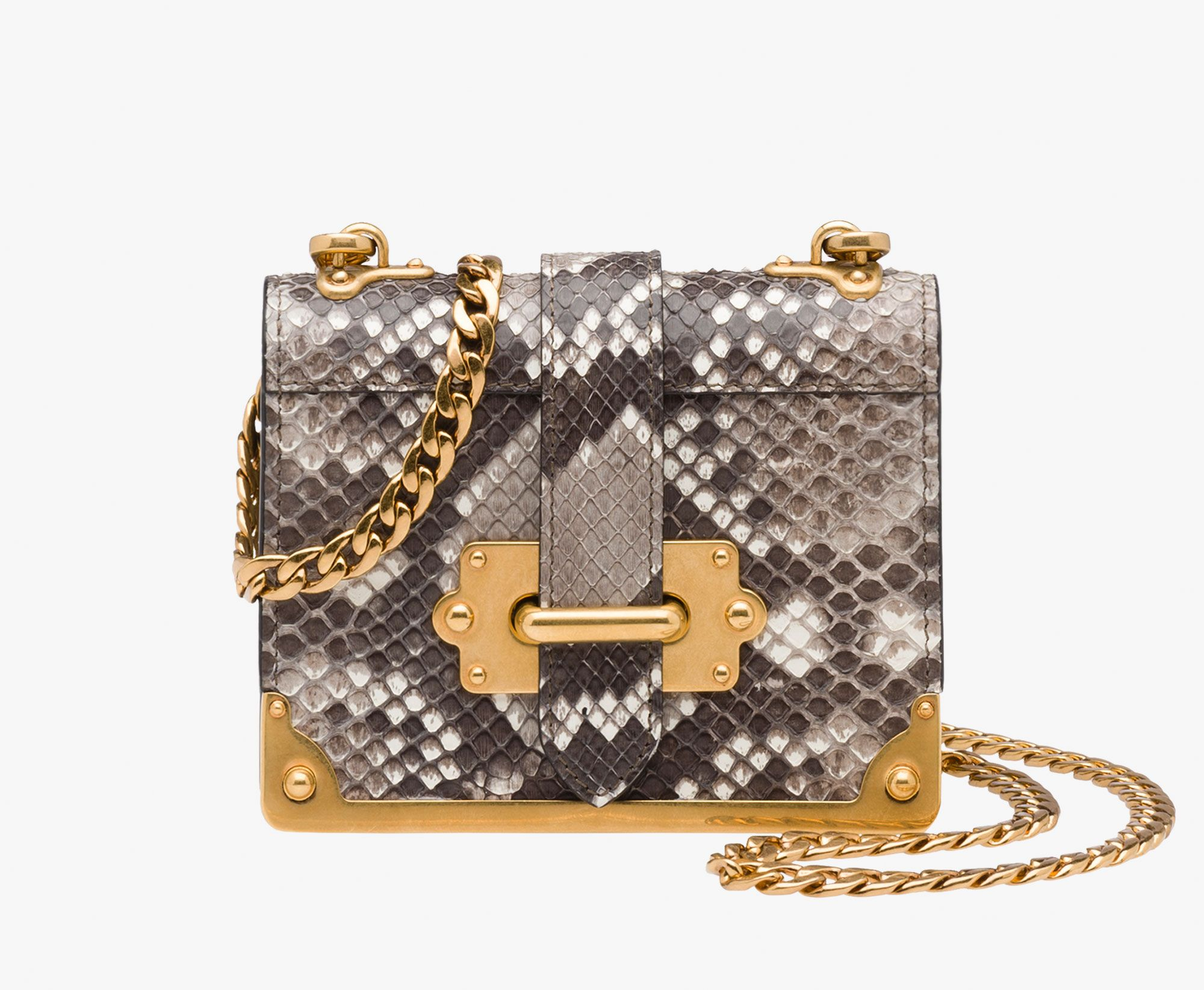 fba75d33b8ba Prada Micro Cahier python leather bag Detachable metal chain shoulder strap  Detachable leather strap Bronze-finish metal hardware Bronze metal  lettering ...