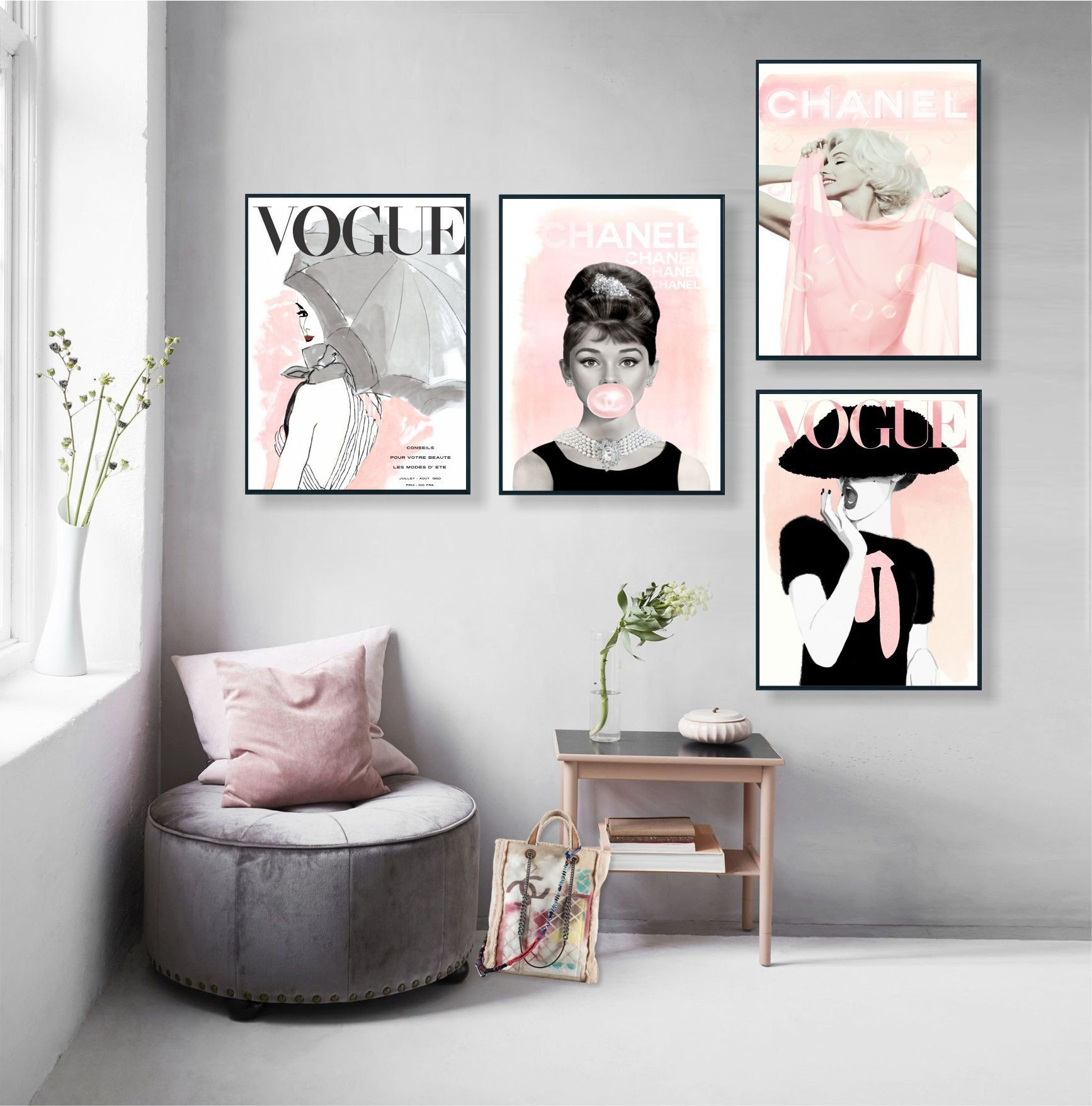 Vogue Posters Audrey Hepburn Print Set Of 4 Fashion Wall Art Vogue Cover Magazine Fashion Decor Vogue Print Gift For Her Decor Styles Fashion Room Decor