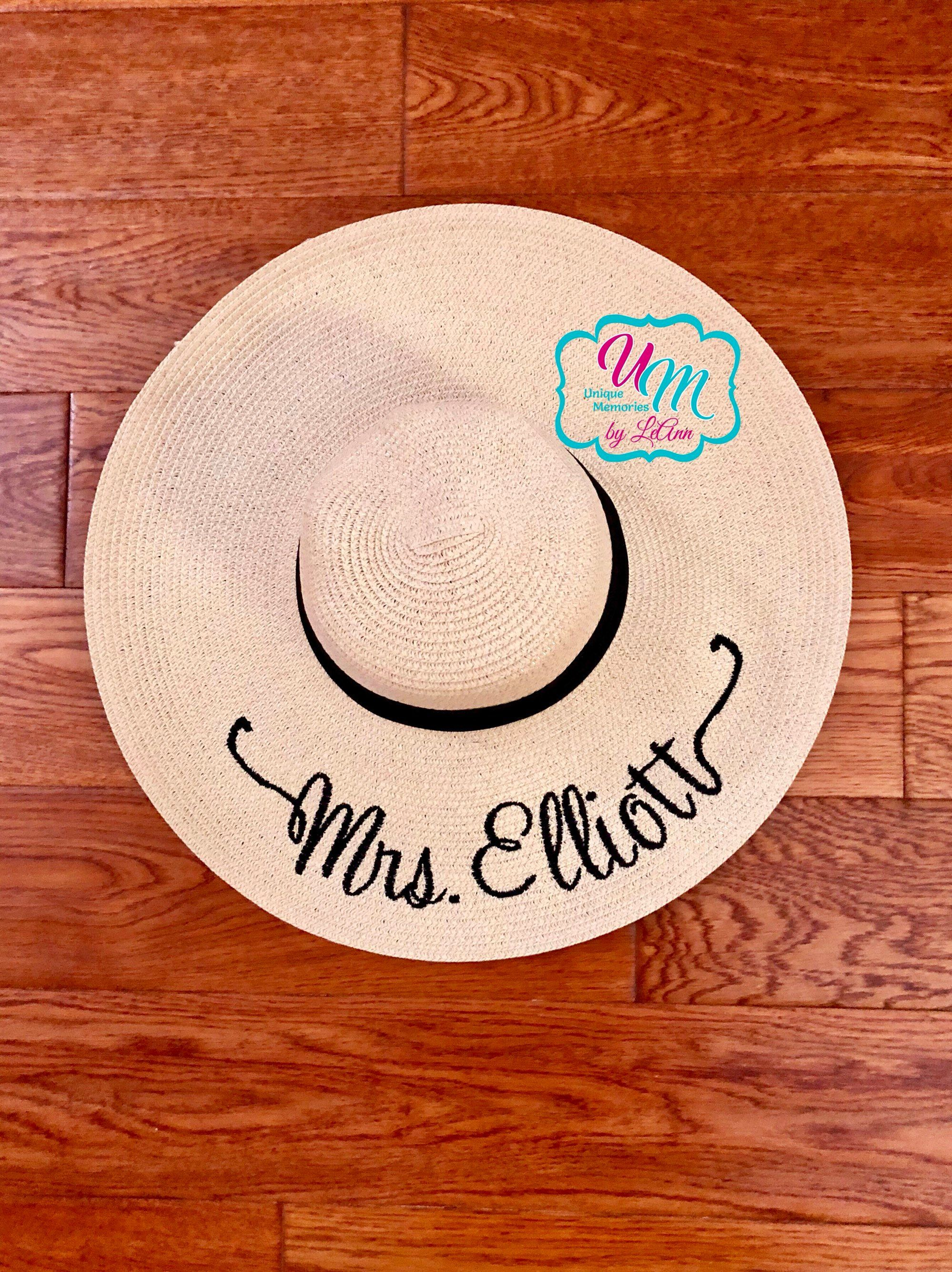 b92223ce278b58 Mrs floppy Beach Hat, Wedding Hat, Bride Beach hat, Personalized Floppy Hat,  Embroidered floppy hat, Beach Hat, Straw floppy hat, Floppy Hat by ...