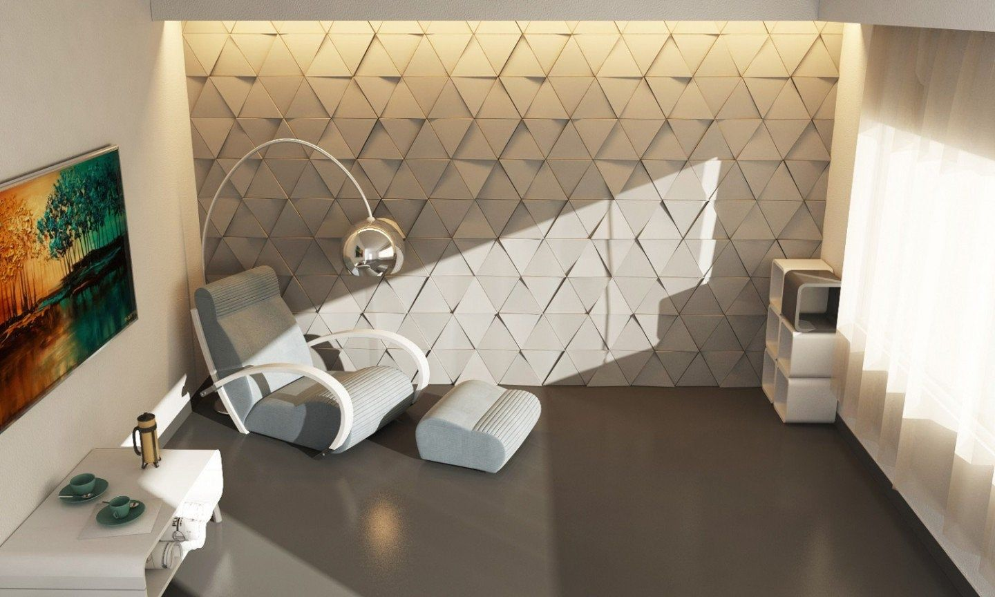 Euclid 3d Concrete Wall Tiles In 5 Colors In 2020 Wall Cladding Concrete Wall Wall Tiles