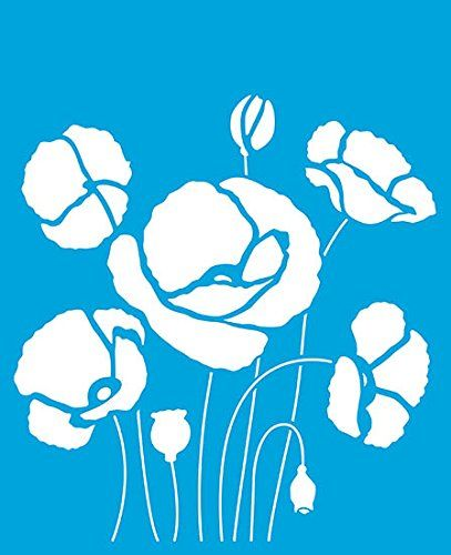 "8.3"" x 6.8"" (21cm x 17cm) Reusable Flexible Plastic Stencil for Graphical Design Airbrush Decorating Wall Furniture Fabric Decorations Drawing Drafting Template - Poppy Flower Leaves Litoarte"