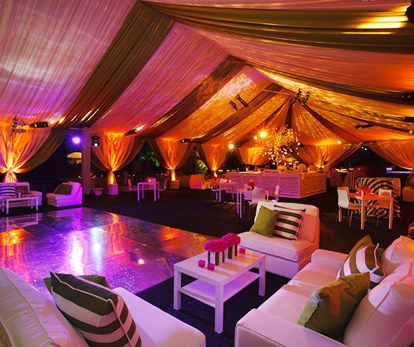 Gorgeous Draping Lighting And Crisp White Furniture Sets The Tone For An Exciting Tented After Party
