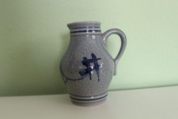Vintage Ceramic Pitcher Germany Salt Glazed Painted Pottery