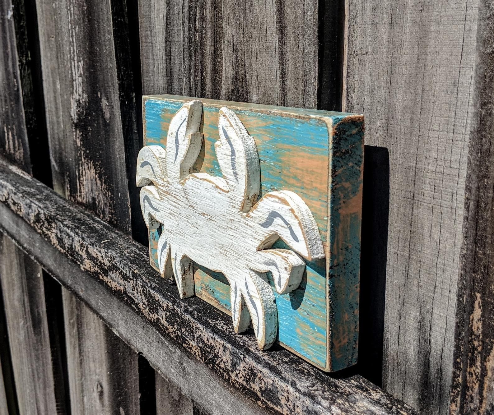Crab Lover Shelf Sitter Ready To Ship Thank You Gift Beach House Gift Wooden Crab House Warming Coastal Living Room Rustic Crab Beach House Gift Shelf Sitter House Warming Gifts