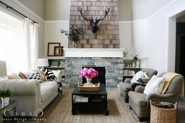 Stunning Living Room with Stone & Shingled Fireplace from Jones Design Company! Love her work/blog :)