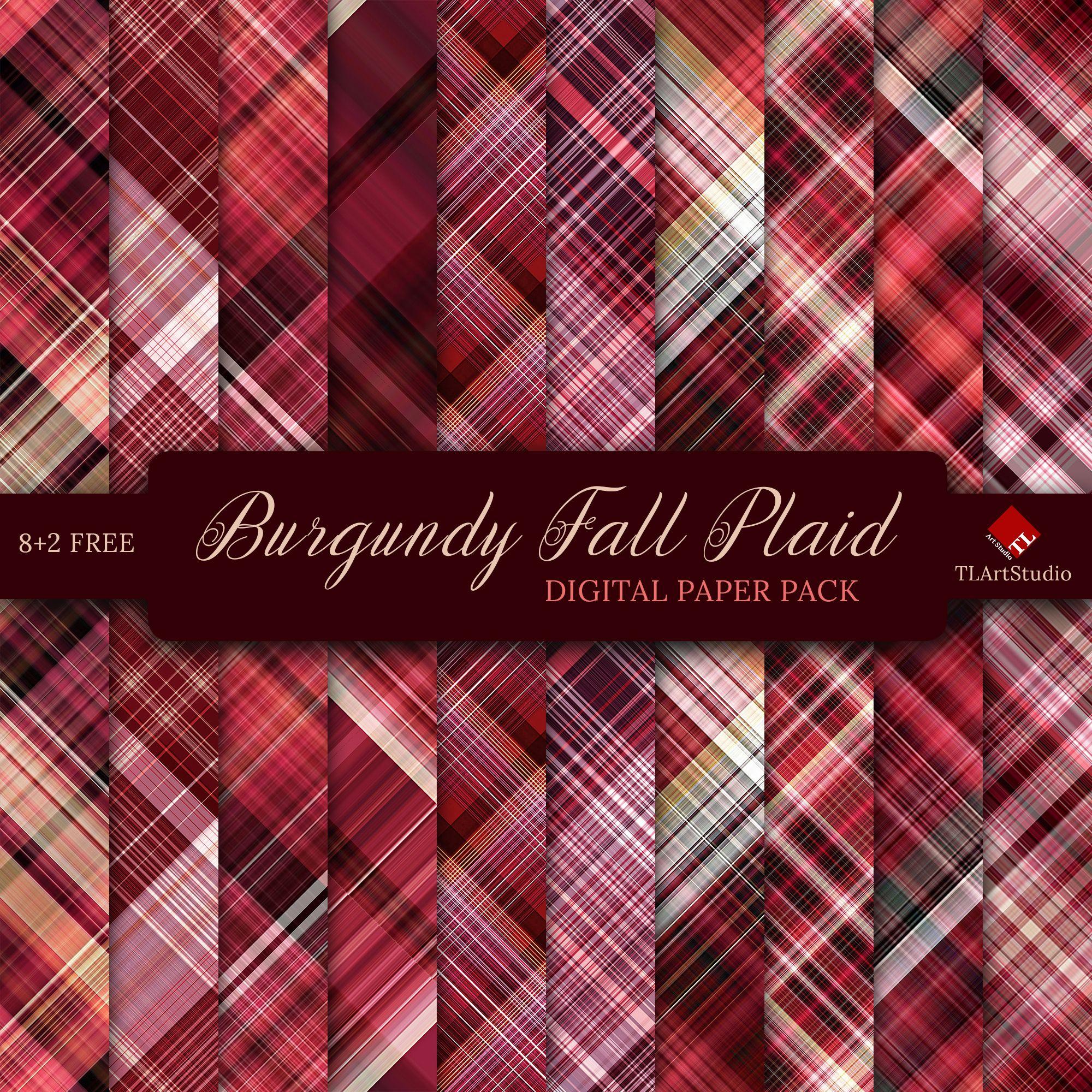 Burgundy Plaid Autumn Digital Paper Pack 1 Commercial Use Etsy In 2020 Digital Paper Digital Scrapbook Paper Scrapbook Background